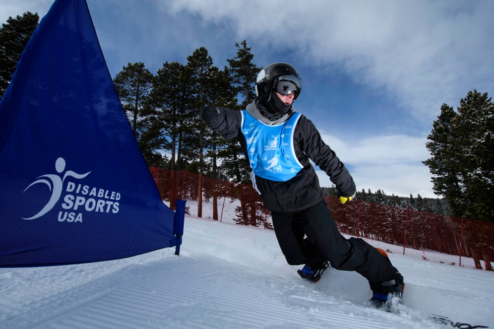 Third day (for me) of DSUSA Ski Spectacular 2016, snowboarders and ski camp on the course.(Photo by Reed Hoffmann on 12/1/16)NIKON D500, mode, white balance of SUNNY, ISO 320, 1/2000 at f/5.6, EV +0.7, Nikkor lens at 10mm, Picture Control set to STANDARD.Photo copyright Reed Hoffmann.