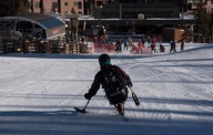 Second day of the 2014 Hartford Ski Spectacular by Disabled Sports USA, morning and afternoon on the mountain with Mattie (skier) and Steve (instructor), from Ohio, her first time here. Then other young people in the adaptive race program, racers on Dukes, other folks and beauty shots. (Photo by Reed Hoffmann on 12/2/14) NIKON D750, {metering mode}, ISO 320, 1/3200 at f/6.3, EV -0.7, lens at 120mm. Photo copyright Reed Hoffmann.