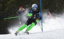 Fifth day of the 2014 Hartford Ski Spectacular by Disabled Sports USA, morning ski racers. (Photo by Reed Hoffmann on 12/5/14) NIKON D7100, {metering mode}, ISO 200, 1/640 at f/7.1, EV 0.0, lens at 220mm. Photo copyright Reed Hoffmann.